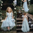 Light Blue Empire Flower Girl Dresses Lace Applique Flowers Princess Prom Gowns