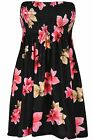 Womens Floral Rose Sheering Strapless Ladies Boobtube Bandeau Swing Dress Top