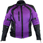 Xelement XS3048 Cyclone Womens Black/Purple Mesh Tri-Tex Armored Motorcycle Jac