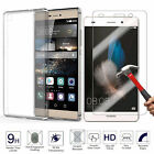 Tempered Glass + Ultra Thin Clear TPU Soft Back Protective Case Cover For Huawei