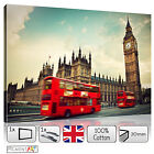 LARGE LONDON UK CITYSCAPE RED BUS - STRETCHED CANVAS WALL ART PRINTS PICTURES