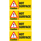 4 x Caution Hot Surface Vinyl Sticker Hazard Health and Safety Business Shop