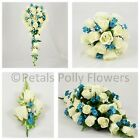 Silk Wedding Flowers by Petals Polly, BOUQUET POSY BUTTONHOLES in TEAL IVORY