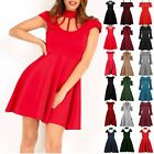 Womens Ladies Choker Neck Cold Cut Shoulder Cap Sleeve Flared Cage Swing Dress