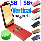 Galaxy S8 Plus Leather VERTICAL Flip MAGNETIC Case Cover Credit Card Samsung