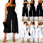 Womens Sleeveless Strapless Jumpsuits Romper Clubwear Loose Long Trousers Pants