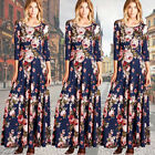 Fashion Women Long Sleeve Bodycon Dress Ladies Evening Party Long Floral Dresses