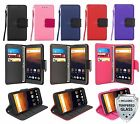 For ZTE MAX XL / N9560 Leather Wallet Flip Stand Case Cover +Strap +Glass Screen