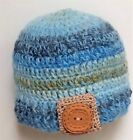 HAND CROCHETED BABY BOYS HAT 0-2 YEAR OLD shower gift knit photo prop BLUE CARL