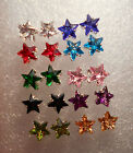 Crystals stars large studs earrings in 10 different colours + free stoppers