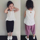 2PCS Toddler Kids Baby Girl Tops Shirt Blouse+Pants Casual Outfit Summer Clothes