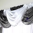 GLITTER SPARKLY SILVER SEQUINS BLING TRIM VOILE NET CURTAIN SWAG 5 SHADES £6.95