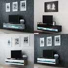 BMF VIGO NEW OPEN FRONT LED 140CM SMALL FLOATING TV STAND - GREY WHITE BLACK