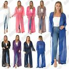 New Ladies Chiffon Sheer Mesh Belted Full Length Kimono Long Maxi Cardigan Top