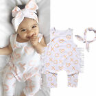 Baby Kids Infants Girl Toddlers Romper Jumpsuit Outfit Clothes Sunsuit Head Band