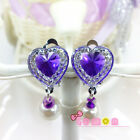 Cute Little Baby Kids Girl Heart Rhinestone No Piercing Ear Clip Earring Jewelry