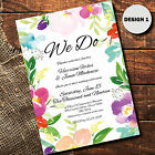 Wedding Day Invitation Evening Reception Invitation Floral Watercolour Designs