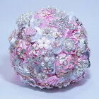 RHINESTONE PIN BROOCH PEARL PINK WHITE SILK ROSE BRIDAL WEDDING FLOWER BOUQUET