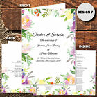 Wedding Ceremony Programme Personalised Order of Service Wedding Booklet Floral