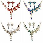 Fashion Rhinestone Crystal Pendant Statement Bib Choker Necklace Earring Set