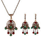 Boho Ethnic Tribal Pendant Dangling Crystal Rhinestone Earring Necklace Set