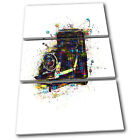 Camera Old Colourful Abstract Vintage TREBLE CANVAS WALL ART Picture Print