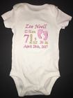 Birth Announcement Embroidered Bodysuit Keepsake Personalized Boy or Girl