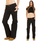 New Womens Ladies Black Wide Leg Lightweight Stretch Cargo Pants Combat Trousers