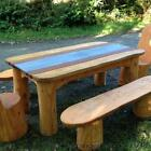 LARGE CHUNKY WOOD AND SLATE OUTDOOR DINING TABLE / HANDMADE IN UK