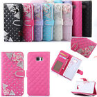 Bling Glitter Diamond Camellia PU Leather Wallet Case Card Slot Stand Cover Skin