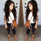 Summer Child Outfits Girls Clothing Sets Kids Lace T-shirt & Ripped Pencil Pants
