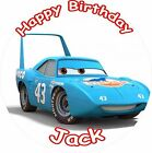 "STRIP 'THE KING' WEATHERS CARS 3 2017 ROUND 7.5""  CAKE TOPPER ICING OR RICEPAPER"