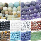 Matte Natural Gemstone Beads Round Frosted 4mm 6mm 8mm 10mm 12mm 15.5' Strand