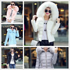 Women Winter Down Cotton Warm Jacket Short Fur Collar Hooded Coat Parka #611