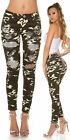Women's lightweight skinny distressed camouflage Trousers- sizes UK 4 6 8 10 12