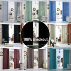 Ring Top Eyelet Blackout Curtains Pair Luxury Faux Silk Curtain Heavy Fabric