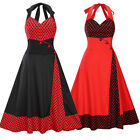 Vintage Polka Dot 50s ROCKABILLY Swing Pinup Housewife Retro Haletr Dresses