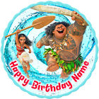 Moana round edible icing cake topper with personalisation