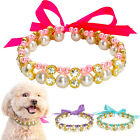 Pet Puppy Cat Dog Collars Pearl Necklace Bling for Small Medium Dog 3 Color