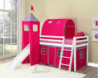 Kids Bunk Bed Mid Sleeper with Slide and Ladder Wooden Cabin Bed and Mattress