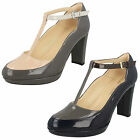 Ladies Clarks Kendra Daisy Smart Patent Leather T-Bar Court Shoes
