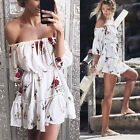 UK Women Sexy Off Shoulder Beach Mini Dress Floral Holiday Party Sundress Dress