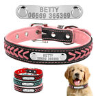 Braided Leather Personalized Pet Dog Collars Gift Bell & ID Tube Free Engrave