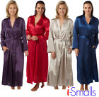 Women's Ladies Luxury Soft Satin Lace Detail Wrap Dressing Gown MN61