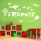 [WD101093] Personalised Name Boys Wall Art Sticker - Plane, Helicopter, Kite, Ho
