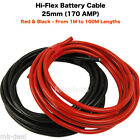 BATTERY STARTER WELDING CABLE 16mm2 25mm 110 170 AMP PVC FLEX RED BLACK AUTO CAR