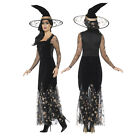 Smiffys Womens Deluxe Moon And Stars Ladies Halloween Witch Fancy Dress Costume