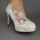 """3"""" 4"""" heel leather white lace pearls round-toe Wedding shoes bride size 5-10"""
