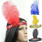 Retro Lady Headband Costume Feather Sequin Crystal Flapper Headpiece Dance Party