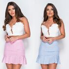 Women Summer Gingham Casual Party Beach Club Evening Ruffle Hem Short Mini Skirt